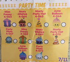 Shopkins Season 4 Checklist Party Time
