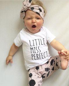 9ca19a9da34d3 3PC Set Balloon Print Summer baby girl clothes cotton Little Miss Perfect t- shirt + pants + headband