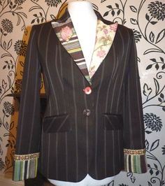 Upcycled Jacket brown pinstrip size 8