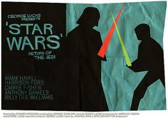 This is another movie poster which uses the concept of constrained visual language. This poster is of Star Wars, the all-time famous movie Return of the Jedi. In this movie poster there is very simple imagery used with colour. The silhouettes are of famous characters and can easily be depicted. The fact that they are contrasting colours rather than complimentary make the audience believe they are fighting.