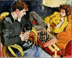 Tullio and Noga Playing Chess - Sandra Fisher