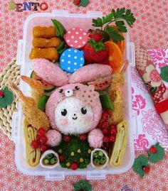 Tutorial Blushing Bunny Bento  http://cookinggallery.blogspot.com.es/2011/04/blushing-bunny-bento.html