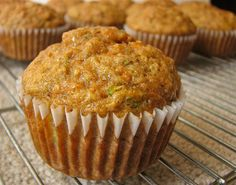 Zucchini, Carrot and Banana Muffins with Flour, Sugar, Cinnamon, Baking Soda, Kosher Salt, Baking Powder, Carrots, Zucchini, Bananas, Eggs, Vegetable Oil, Vanilla Extract.
