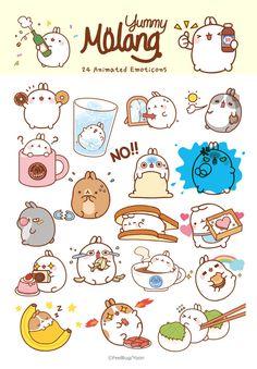 몰랑이 이모티콘, 몰랑이의 냠냠 맛있는 일상 | 캐릭터 | 귀여운 | 이모티콘 | 몰랑이 | Molang | Character | Cute | Kawaii  | Adorable | Lovely | かわいい | キャラクター |