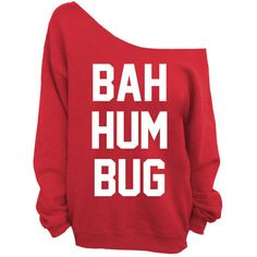Ugly Christmas Sweater - Bah Hum Bug - Red Slouchy Oversized... - Polyvore