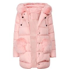 Yoins Pink Zipper Front Hooded Coat (120 BAM) ❤ liked on Polyvore featuring outerwear, coats, coats & jackets, yoins, pink hooded coat, pink coat and hooded coat
