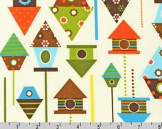 Urban Zoologie  Bermuda Bird House by Ann Kelle by JAQSFabrics