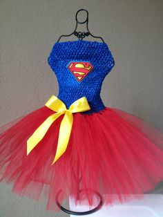 Superhero-Superman girls tutu dress. Fits 2T-5T. . $50.00, via Etsy.