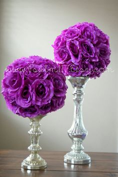 set of 2 - 10 inch lavender - rose wedding pomanders - RESERVED for Trang - purple wedding color chart ebony midnig amethyst cassis wisteria sangria plum - hanging flower ball reception table decor - pom pom - flower girl - flower ball candle stick clear glass vase flower ball - custom orders welcome. www.Psalm117.etsy.com