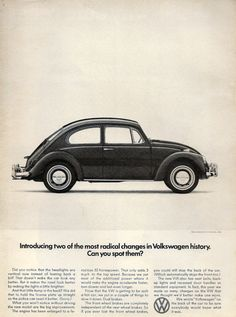 "VOLKSWAGEN 1966 Beetle Ad ""Radical Changes"" Vintage Collectible Car Print, VW Paper Ephemera Marketing Wall Art. $7.57, via Etsy."