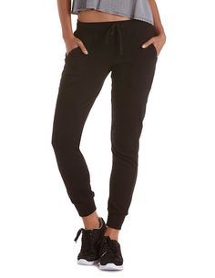 Zipper Pocket French Terry Jogger Pants by Charlotte Russe - Black