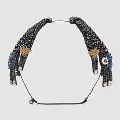 GUCCI Hairband In Metal With Crystals - Black Crystals. #gucci #all