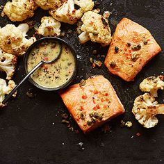 Roasted Salmon and Cauliflower with Caper Vinaigrette #recipe