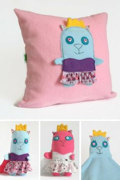 Princess Cat Pink Throw Pillow, Pink Nursery Decorative Pillow, Baby / Kids Room Decor, Baby shower gift, Kids Cute Fun Throw Pillow Cover