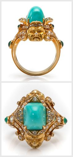 """Marcus & Co.18 Karat """"Theatre"""" Ring, Very rare, one of a kind, Marcus & Co. """"Theatre"""" ring depicting comedy and tragedy. Herman Marcus came to New York from Germany in 1850 and started working as a designer at Tiffany & Co. He represented Tiffany at the 1878 Exposition Universelle in Paris. Marcus left Tiffany around 1884 to establish his own firm, Marcus & Co. with his two sons."""