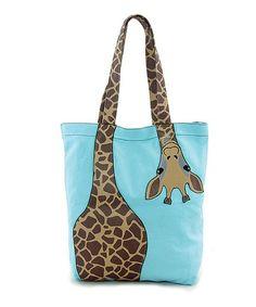 Love this Green Bending Giraffe Tote Bag on #zulily! #zulilyfinds