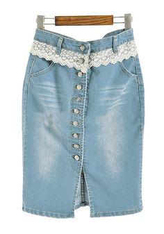 Blue Lace Button Fly Low Waist Denim Skirt