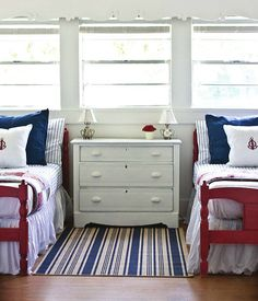 I think this is the final color scheme. Paint the twin beds red and the rest of the furniture antique white with navy underneath. Paint mirror above dresser red.