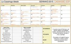 Calendario Casakebo DOP per programmare e pianificare faccende e spese familiari (la Casalinga ideale)