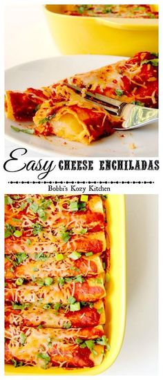 Easy Cheese Enchiladas - these enchiladas are ridiculously simple! They are perfect for a #SundaySupper, or meatless Monday meal from www.bobbiskozykitchen.com: