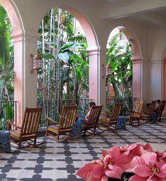 Front patio of the Royal Hawaiian Hotel in Waikiki, Hawaii Copyright: Gary Schmidt
