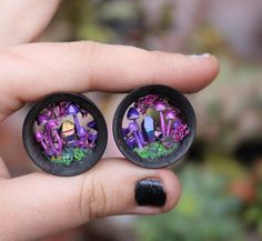 Magic portal ear plugs 25 mm glow in the by channelledcreations
