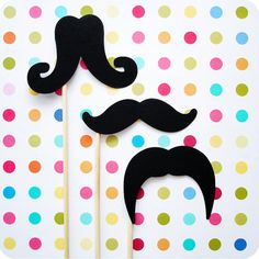 Mustache on a Stick Trio by SweetKaity