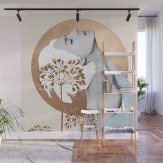 Gentle Beauty 8 Wall Mural by Creative Wall Painting, Wall Painting Decor, Mural Wall Art, Creative Walls, Large Wall Murals, Creative Wall Decor, Modern Small House Design, Interior Decorating, Interior Design