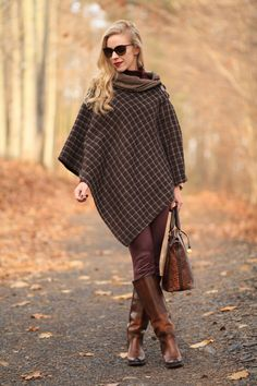 Ralph Lauren brown plaid poncho, 7 for all mankind burgundy leather jeans, Frye mustang anniversary riding boots, classic fall style with poncho