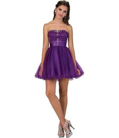 Homecoming fashion for women. I'm an affiliate marketer with links to shopstylecollective.com. When you click on a link or buy from the retailer, I earn a commission. Purple Strapless Lace & Tulle Embellished Short Party Dress. http://shopstyle.it/l/hzL2
