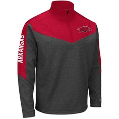 Arkansas Razorbacks Colosseum Top Gun Quarter-Zip Pullover Jacket - Charcoal/Cardinal