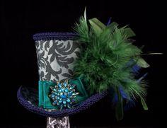 Bleu et vert impératrice Mini chapeau Bibi, Alice au pays des merveilles, Mad Hatter Tea Party, Derby