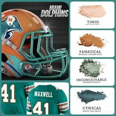 Miami Dolphins eyeshadow looks Miami Dolphins, Younique Eyeshadow, Makeup Kit, Makeup Ideas, Football Helmets, Football Team, Eyeshadow Looks, Teal Green, Inspired