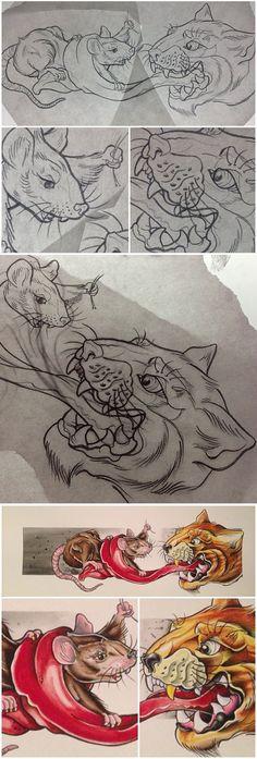 Rat vs. Cat fight tattoo