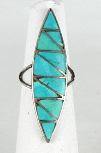 Authentic Vintage  Navajo Sterling Silver and Turquoise inlay ring