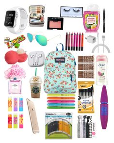 """School essentials"" by grace-j-sturgeon on Polyvore featuring JanSport, Monki, Popband, Eos, Maybelline, Dove, Chanel, PhunkeeTree, NARS Cosmetics and Urban Decay"
