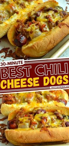 This easy chili hot dog recipe is always a hit! Not only does it make the perfect Memorial Day food, but is also a great Father's Day grilling idea. No matter who you are feeding, this chili cheese dog bake is sure to satisfy those hearty appetites! Save this and try it! Hot Dog Recipes, Beef Recipes, Cooking Recipes, Beef Meals, Yummy Recipes, Dinner Recipes, Brat Sausage, Memorial Day Foods