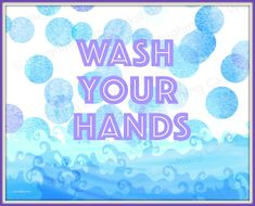 Wash Your Hands art Bubbles bathroom wall by laughingcatworkshop