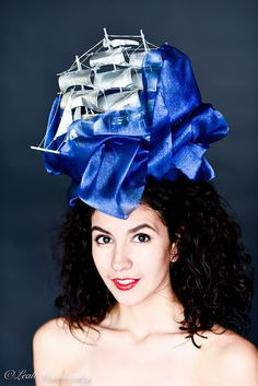 Blue Hat Blue Fascinator Silver Hat Ship Hat by RubyandCordelias Silver  Fascinator 45e429174811