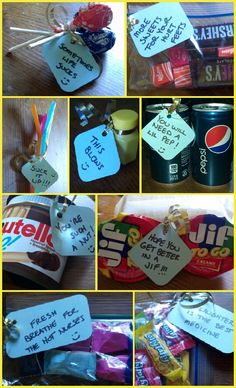 Goodies with witty notes for a get well soon bag