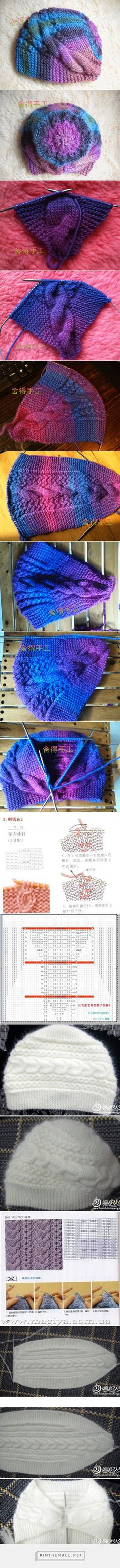 """Knitted cabled hat; double-wedge shaped base with grafted ends, stitches picked up and knit in the round to finish crown. Two different cable charts. ~~ http://magic-art.info/blog/vjazanaja_spicami_teplaja_shapka_obodok_na_zimu/2014-12-06-609 ~~ Вязаная спицами теплая шапка-ободок на зиму. - 6 Декабря 2014 - Мастер классы по рукоделию - Информационный портал """"Магия Творчества"""" [ """" double-wedge shaped base with grafted ends, stitches picked up and knit in the round to finish crown. Two…"""
