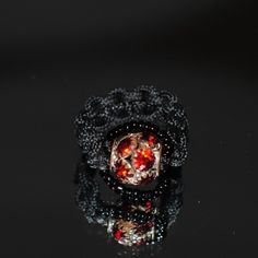 Unique handmade macramé Ring, Βlack cord, Black beads, 2cm. diameter http://reignofknots.com/index.php?route=product/category&path=17