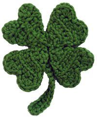 Lucky Four Leaf Clover / Shamrock Crochet Pattern for St. Crochet Leaves, Crochet Motifs, Crochet Flowers, Crochet Stitches, Crochet Patterns, Crochet Appliques, Crochet Ideas, Crochet Gratis, Crochet Yarn