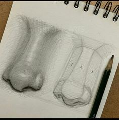 Really Easy Nose Drawing Tutorials & Ideas - Howtodraw. Drawing Techniques, Drawing Tutorials, Art Tutorials, Art Drawings Sketches Simple, Pencil Art Drawings, Eye Drawings, Portrait Sketches, Realistic Drawings, Nose Drawing