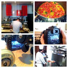 QH en shooting dans les cuisines de Pasta Oro