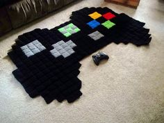 8-Bit Crocheted Video Game Rugs! I want one, thats it, i want a ps3 one !!