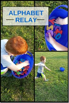"Relay Get outside and combine exercise and learning with this fun alphabet relay game! Learn how with ""Mom Inspired Life"".Get outside and combine exercise and learning with this fun alphabet relay game! Learn how with ""Mom Inspired Life"". Gross Motor Activities, Gross Motor Skills, Alphabet Activities, Preschool Alphabet, Preschool Literacy, Literacy Activities, Preschool Activities, Kindergarten Phonics, Early Literacy"