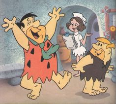 The Flintstones - Hanna-Barbera - originally aired: Sept. 1960 thru April - Fred was just told his baby was just born, he is a daddy! Classic Cartoon Characters, Cartoon Books, Classic Cartoons, Good Cartoons, Famous Cartoons, Animated Cartoons, Vintage Cartoon, Vintage Comics, Flintstone Cartoon