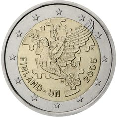 Finland 2005. 60th anniversary of the establishment of the United Nations and 50th anniversary of Finland's membership therein  Description: Depicted in the centre of the coin are parts of a jigsaw puzzle showing a dove of peace. Below the image of the dove, inscribed along the edge of the bottom half of the central part of the coin, the inscription 'FINLAND — UN' appears on the left and the year of issue on the right. Mintmark 'M'   Issuing volume: 2 million coins - October 2005