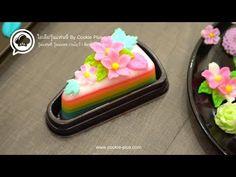 Rainbow Desserts, Food Carving, Thai Dessert, Asian Desserts, Pastel, Jelly, Pudding, Birthday, Cake